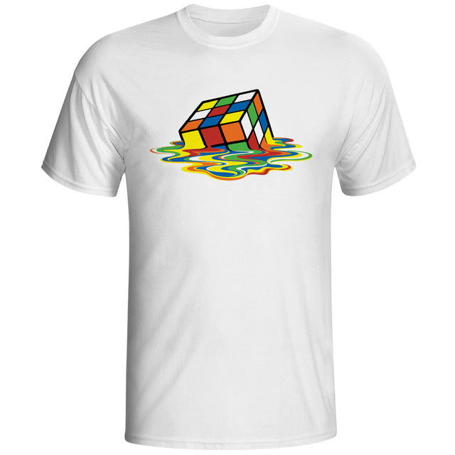 Melting Rubiks Cube Graphic T-Shirt
