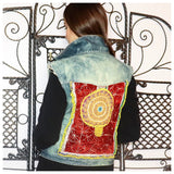 Afghan Sleeveless Denim Jacket: Upcycled