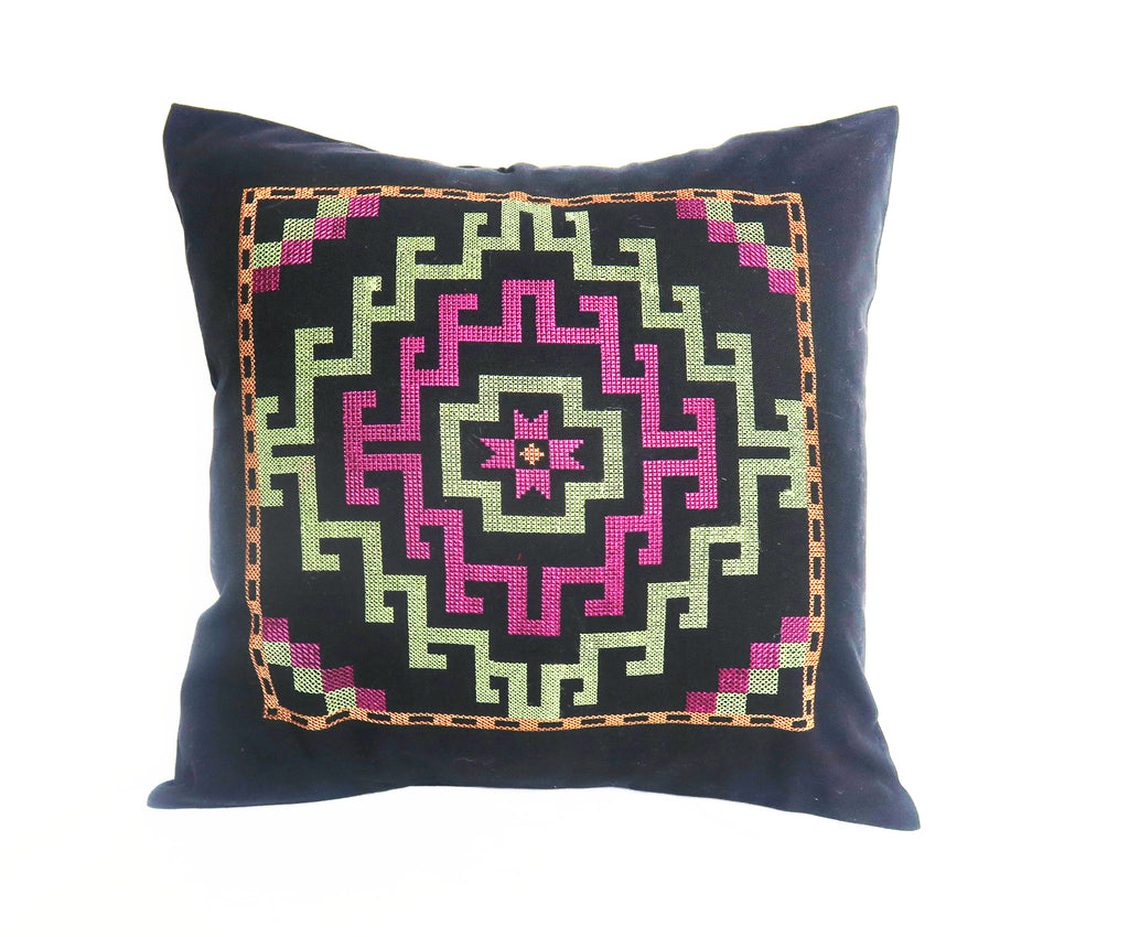 Afghan Embroidered Geometric Pillow
