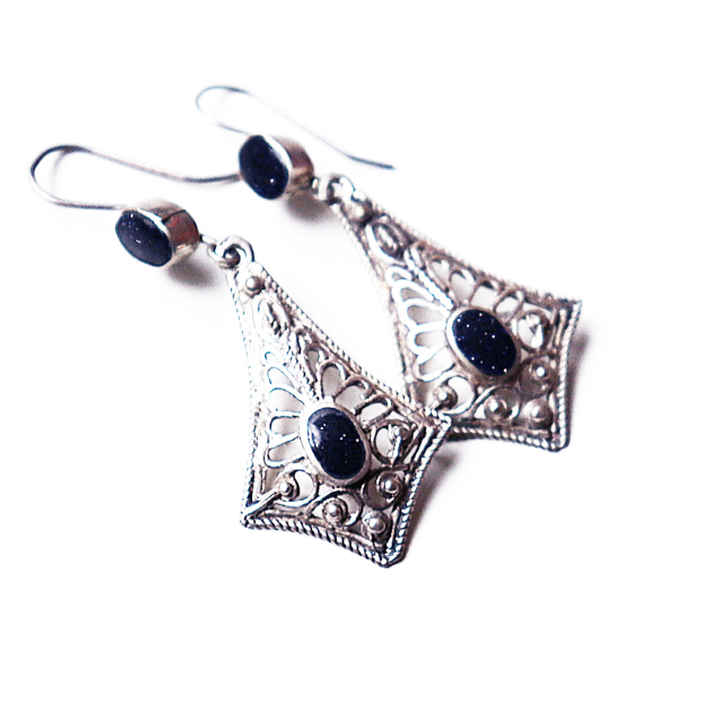 Tribal Afghan Black + Silver Onyx Earrings