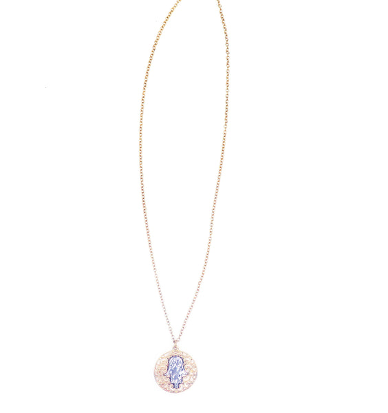 Hamsa Gold + Silver Necklace