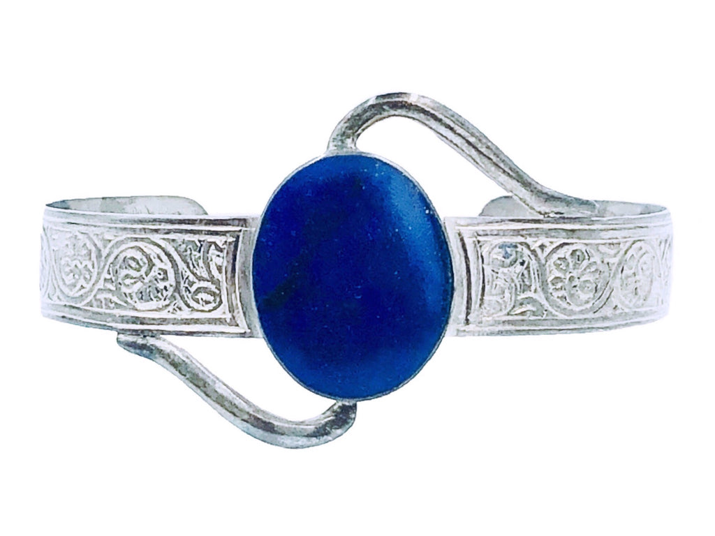 Lapis Engraved Bangle