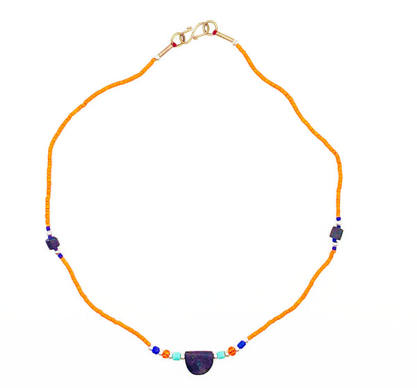 Orange Beaded Lapis Stone Necklace