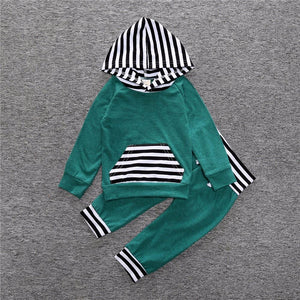 2 Piece Set Green Hooded pullover sweater and Pants - Amelia's Boutique