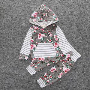 2 Piece Set Gray and Pink Floral Hooded pullover sweater and Pants - Amelia's Boutique