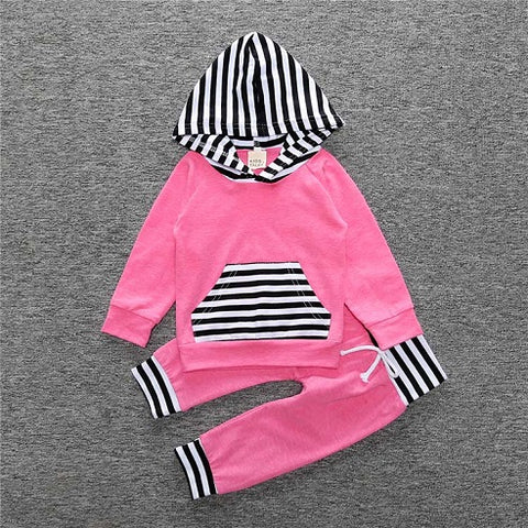 2 Piece Set Pink with black and white stripes Hooded pullover sweater and Pants - Amelia's Boutique