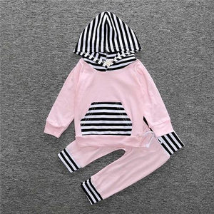 2 Piece Set Light Pink with black and white stripes Hooded pullover sweater and Pants - Amelia's Boutique