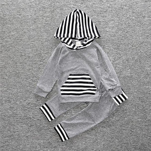 2 Piece Set Gray with Black and White Stripes Hooded pullover sweater and Pants - Amelia's Boutique