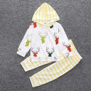 2 Piece Set Deer and Yellow Stripes Hooded pullover sweater and Pants - Amelia's Boutique