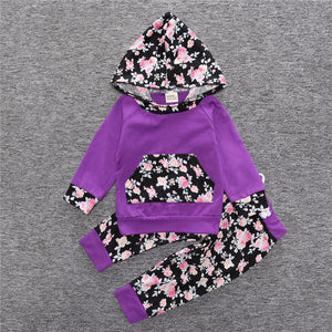 2 Piece Set Purple and Black Floral Hooded pullover sweater and Pants - Amelia's Boutique