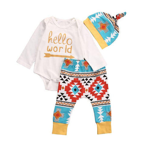 Hello World Aztec Tribal Print Take Home Outfit