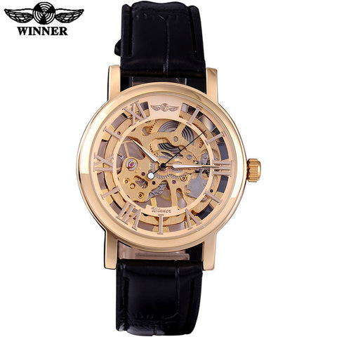18K Rose Skeleton Black Leather Watch - GoldBunny GemMine