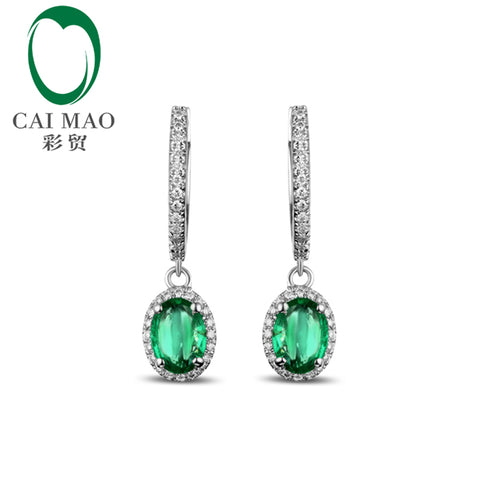 14KT White Gold Natural 1.65CT Emerald Diamond Engagment Earrings - GoldBunny GemMine
