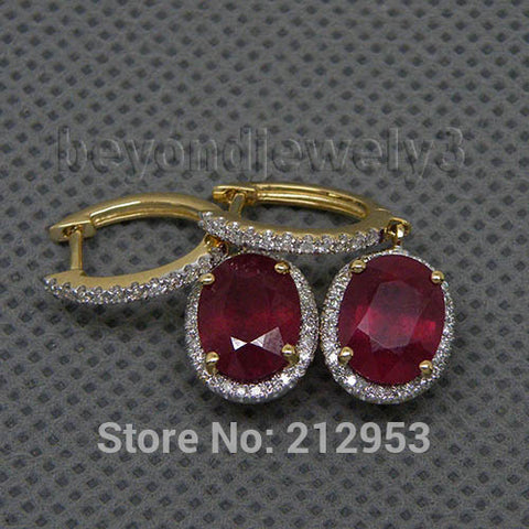 14KT Yellow Gold Vintage Oval 6x8mm Natural Red Ruby & Diamond Earrings - GoldBunny GemMine