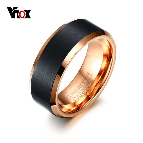 Unisex Tungsten Carbide Rose Gold Wedding Band - GoldBunny GemMine