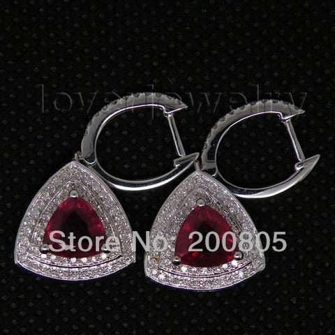 14KT White Gold Luxury Vintage 4.59Ct  Natural Diamond Trillion Red Ruby Earrings - GoldBunny GemMine