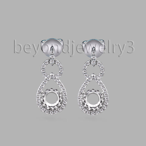 14KT White Gold Luxury 4.5mm Earring Semi Mount 0.26ct Diamond Gold Drop E - GoldBunny GemMine