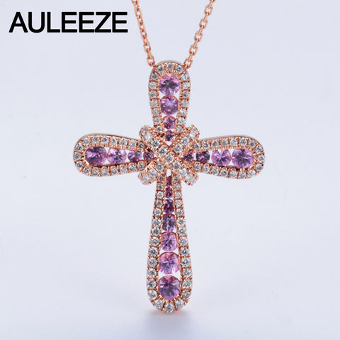 14KT Rose Gold 1.1ctw Natural Pink Sapphire Accents Necklace Diamond  18' - GoldBunny GemMine