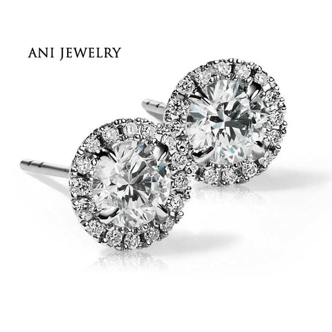18KT White Gold 1.6 CT Certified I/S1 Real Natural Diamond Luxury Round Halo Stud Earrings - GoldBunny GemMine