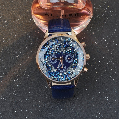 Crystal Blaze Fire 18K Rose Blue Stars - GoldBunny GemMine