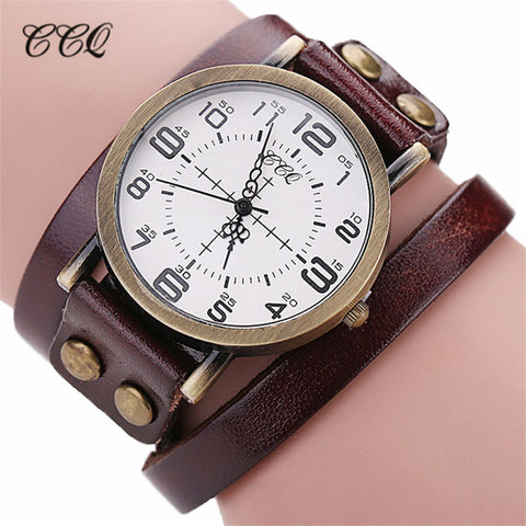 CCQ Luxury Brand Vintage Cow Leather Bracelet Watch Men Women Stainless Steel Wristwatch Ladies Dress Quartz Watch reloj mujer