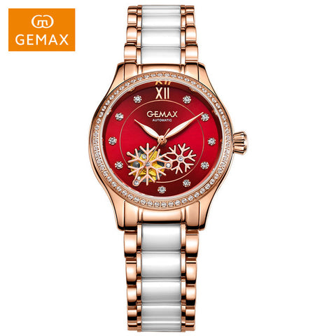 Snowflakes In Paradise Bunny Rose Gold Ceramic Mechanical Watch Luxury Wristwatch