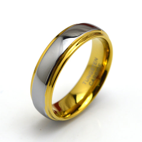 Men's 18K Yellow Gold & Grey Tungsten Carbide  Wedding Band - GoldBunny GemMine
