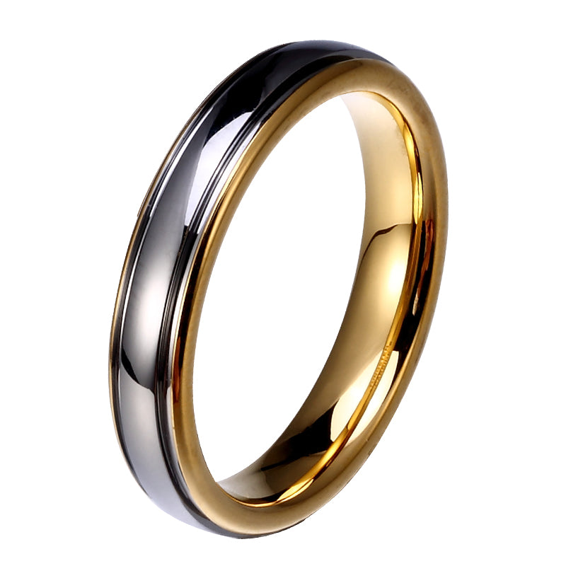 Two Toned Gold 4mm Tungsten Carbide Mens Wedding Band Goldbunny