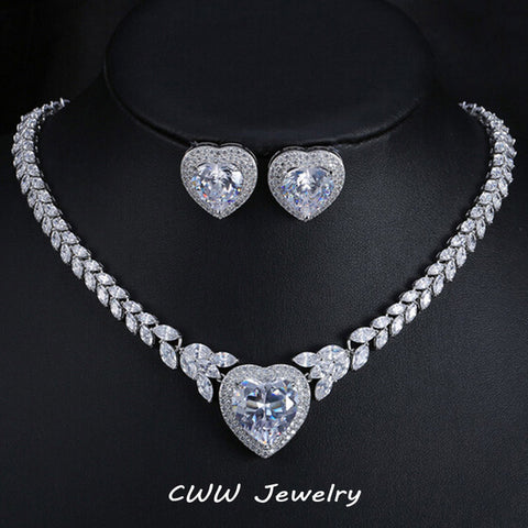 White CZ Heart Marquise Bridal Set - GoldBunny GemMine