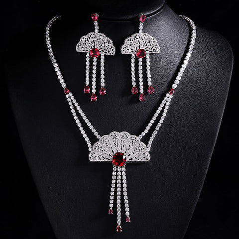 Chinese Fan Royalty Sterling Shiny Necklace Set - GoldBunny GemMine