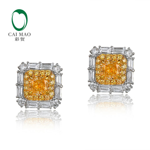 14KT White Gold Bagette Fancy Lab Yellow Diamond 0.9ct Earrings - GoldBunny GemMine
