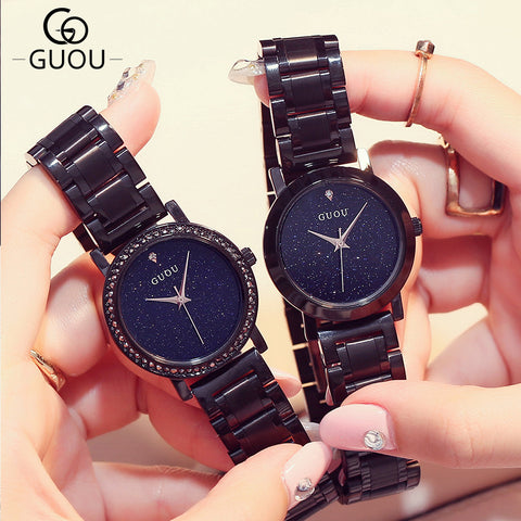 Couple's Steel Black Stars In Sky Glitter Dial Set - GoldBunny GemMine