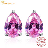 Sterling Silver 7x10mm Oval Cut 6.3ct Pink Topaz Earrings Studs Water Drop