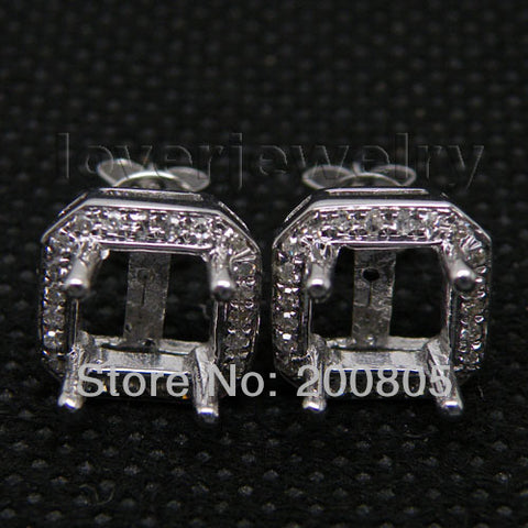 14KT White Gold Luxury Vintage Princess 6x6mm Diamond Settings - GoldBunny GemMine