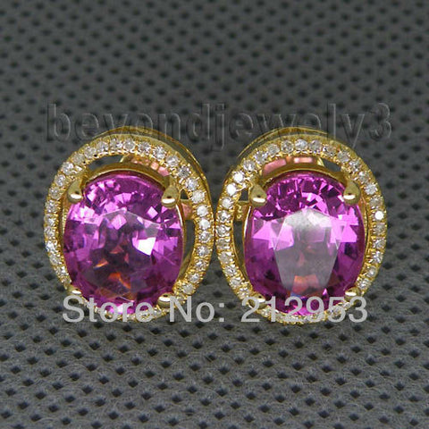 14KT Yellow Gold Oval 8x10mm  Natural Tourmaline Diamond Halo Earrings - GoldBunny GemMine