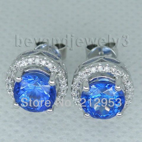 14KT White Gold Luxury Tanzanite Diamond Earrings Vintage 7mm AAA Stud Diamond Earrings - GoldBunny GemMine