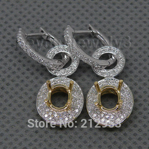 14KT White Gold Luxury Oval 5x7mm  Earrings 0.85Ct  Diamond Semi-Mount Earrings - GoldBunny GemMine