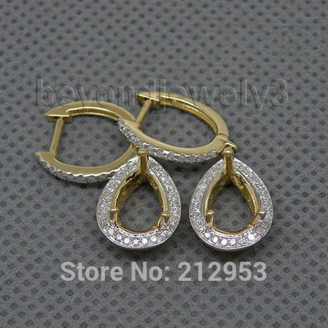 14KT Yellow Gold Solid Pear Semi Mount Water Drop Earrings  Natural Diamond Earrings 7x9mm - GoldBunny GemMine