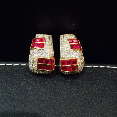 18KT Natural Princess Cut Ruby's Thick Hoop Earrings - GoldBunny GemMine