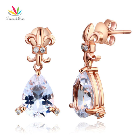 14K Rose Gold 3.5 Ct Clear Pear Topaz Earrings Natural 0.07 Ct Diamonds - GoldBunny GemMine