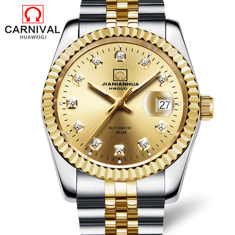 Automatic Mechanical Men  Luxury  Steel Wristwatch Diamond Gold P - GoldBunny GemMine
