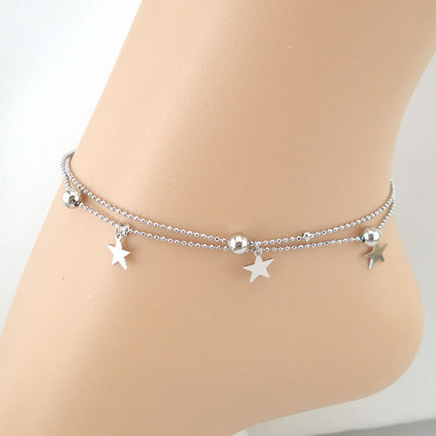 Double Chain Stars Women Chain Anklet Bracelet Sandal Beach Foot Jewelry