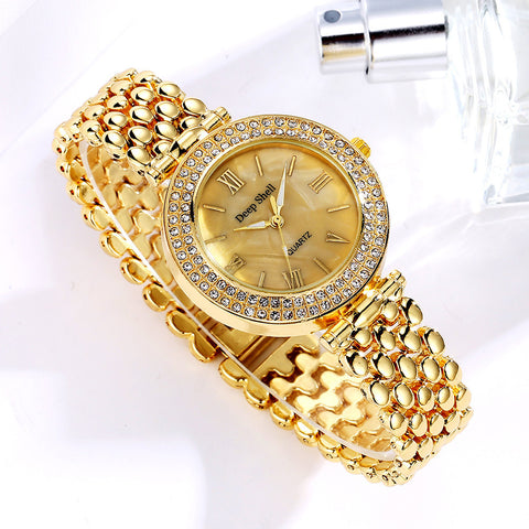 Stainless Steel Bracelet Gold Crystal Quartz