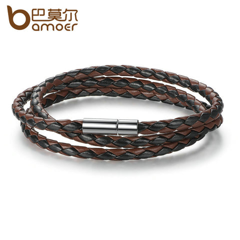BAMOER Cheap Wholesale Fashion Men Leather Bracelet 100% Brand New Trendy Bracelets with Magnet Clasp PI0063-5