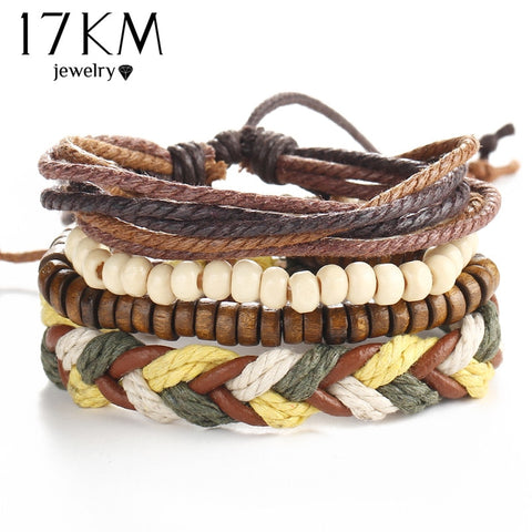 17KM Wrap Leather Bracelets For Women Men Punk Style Vintage Beads Pulseira Feminina Pulseras 4PCS/Set Cuff Jewelry Accessories