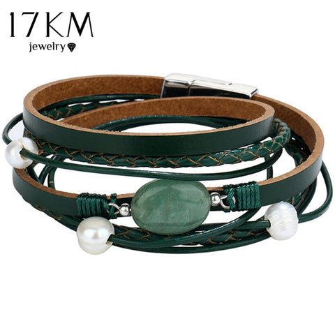 17KM Green Stone Leather Bracelet Vintage Multiple Layers Simulated Pearl Acrylic Cuff Bracelet