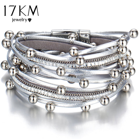17KM Design Fashion Bead Multiple Layers Charm Bracelet For Women Men Leather Bracelets & Bangle New Femme Party Jewelry Gift