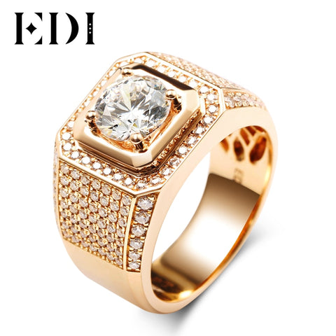 EDI Luxurious Pave Moissanite Ring 14k Rose Gold 1CT Round Cut Brillant Lab Grown Diamond Band For Men's Wedding Men's Jewelry