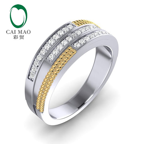 CaiMao 0.33ct Natural Diamond 14K Two-Tone Gold Twisted Rope Mens Wedding Band Mens Ring