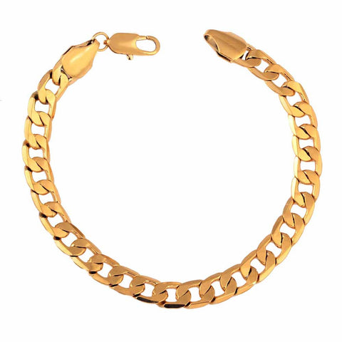 Classic Charm Chain 18K Gold Bracelet Luxury Jewelry Gift for Lady Girl Boy Men Unisex
